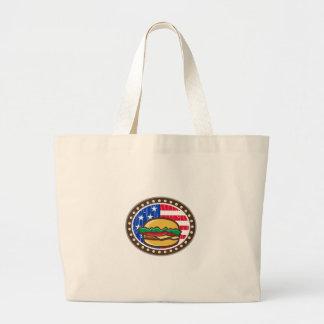 American Cheeseburger USA Flag Oval Cartoon Large Tote Bag