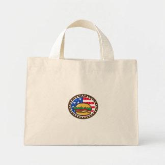 American Cheeseburger USA Flag Oval Cartoon Mini Tote Bag