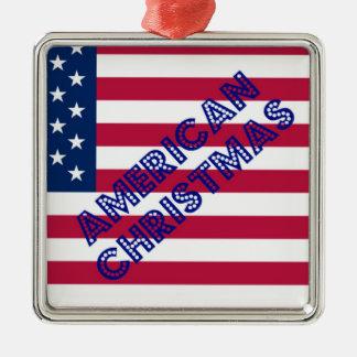 American Christmas Flag Silver-Colored Square Ornament