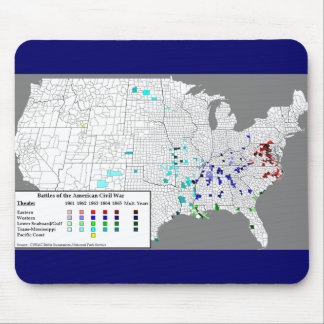 American Civil War Battles Map Mouse Pad