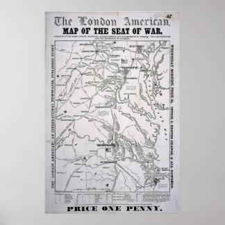 American Civil War Map Poster
