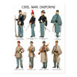 American Civil War Uniforms Postcards