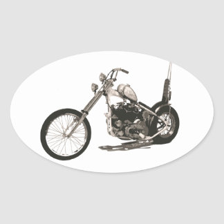 American Classic Chopper Motorcycle Oval Sticker