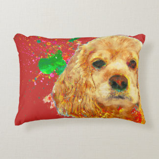 American cocker spaniel and watercolor accent pillow