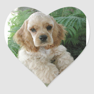 American Cocker Spaniel Dog And The Green Fern Heart Sticker