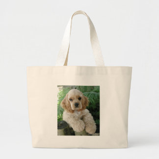 American Cocker Spaniel Dog And The Green Fern Large Tote Bag