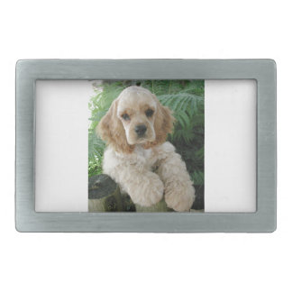American Cocker Spaniel Dog And The Green Fern Rectangular Belt Buckle
