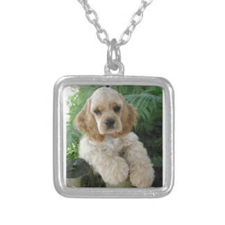 American Cocker Spaniel Dog And The Green Fern Silver Plated Necklace