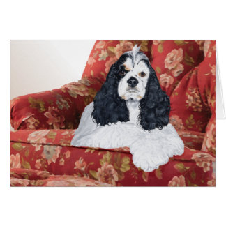 American Cocker Spaniel in Red Chair Card
