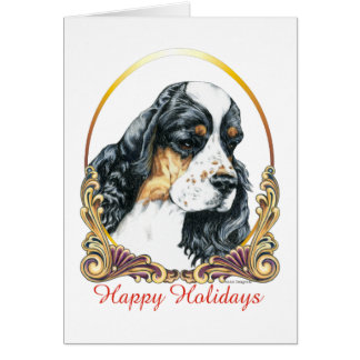 American Cocker Spaniel Parti Happy Holidays Card