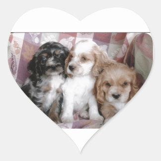 American Cocker Spaniel Puppies Heart Sticker