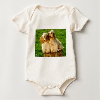 American Cocker Spaniel Puppies On A Stump Baby Bodysuit