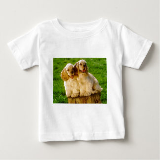 American Cocker Spaniel Puppies On A Stump Baby T-Shirt