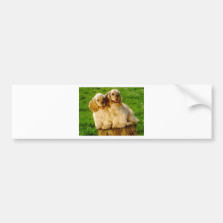American Cocker Spaniel Puppies On A Stump Bumper Sticker