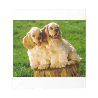 American Cocker Spaniel Puppies On A Stump Notepad
