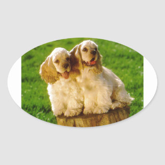 American Cocker Spaniel Puppies On A Stump Oval Sticker