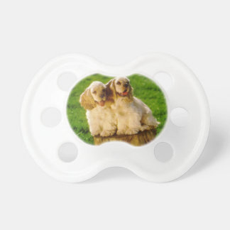 American Cocker Spaniel Puppies On A Stump Pacifier