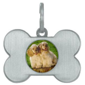 American Cocker Spaniel Puppies On A Stump Pet ID Tag