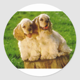 American Cocker Spaniel Puppies On A Stump Round Sticker