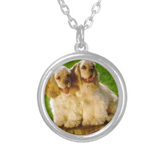 American Cocker Spaniel Puppies On A Stump Silver Plated Necklace