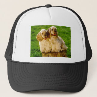 American Cocker Spaniel Puppies On A Stump Trucker Hat