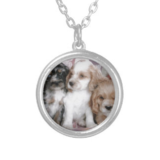 American Cocker Spaniel Puppies Silver Plated Necklace