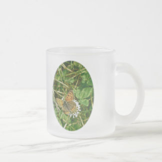 American Copper Butterfly 10 Oz Frosted Glass Coffee Mug