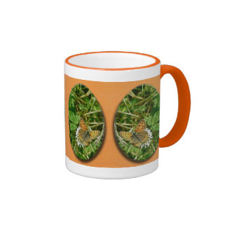 American Copper Butterfly Ringer Coffee Mug