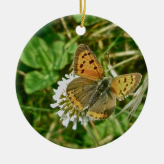 American Copper Butterfly Round Ceramic Ornament