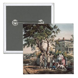 American Country Life - October Afternoon, 1855 2 Inch Square Button