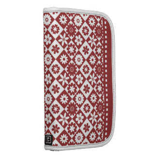 American Country Style Red and White Floral Folio Planners