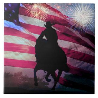 American Cowboy Flag and Fireworks Tile