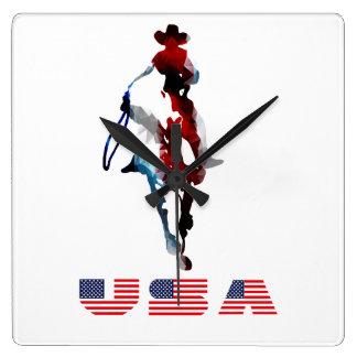 American Cowboys Square Wall Clock