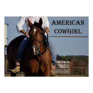 """""""American Cowgirl"""" Horse and Rider Poster"""