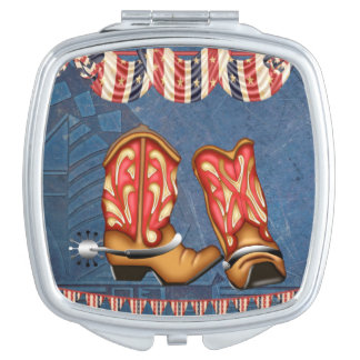 American Cowgirl red white blue western boots Compact Mirrors