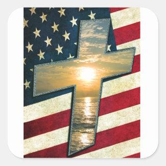 American Cross #1 Square Sticker