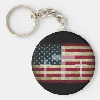 American Cross Basic Round Button Keychain