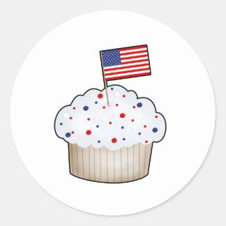 American Cupcake Round Sticker