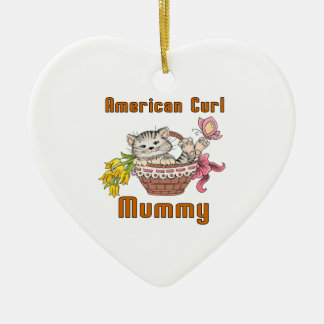 American Curl Cat Mom Ceramic Heart Ornament
