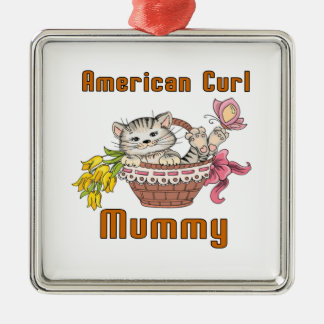 American Curl Cat Mom Silver-Colored Square Ornament