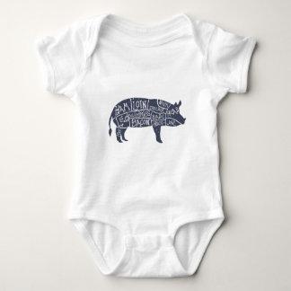 American cuts of pork, vintage typographic baby bodysuit