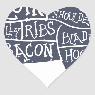 American cuts of pork, vintage typographic heart sticker