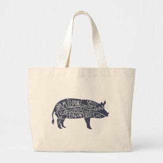 American cuts of pork, vintage typographic large tote bag