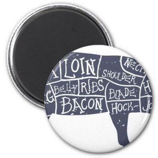 American cuts of pork, vintage typographic magnet