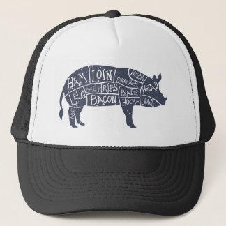 American cuts of pork, vintage typographic trucker hat