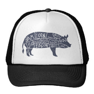 American cuts of pork, vintage typographic trucker hat