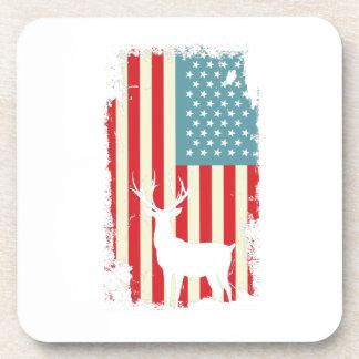 American Deer Hunter Patriotic For Men Women Coaster