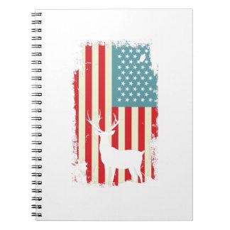 American Deer Hunter Patriotic For Men Women Notebooks