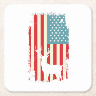 American Deer Hunter Patriotic For Men Women Square Paper Coaster