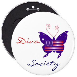 American Diva Butterfly Society Pinback Buttons